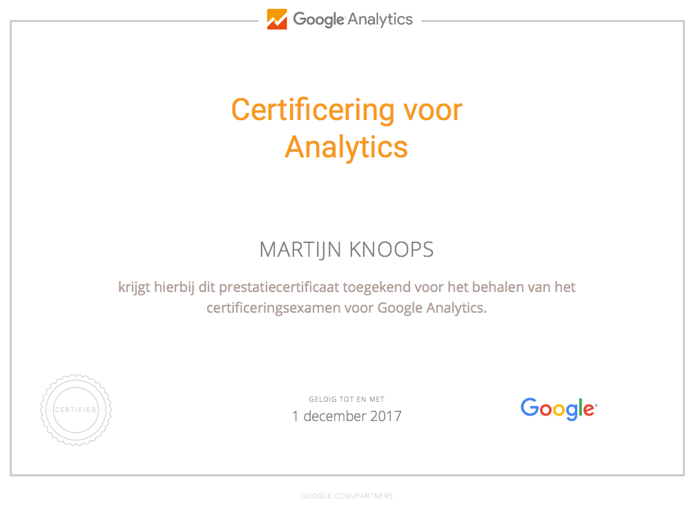Google Analytics Certificat