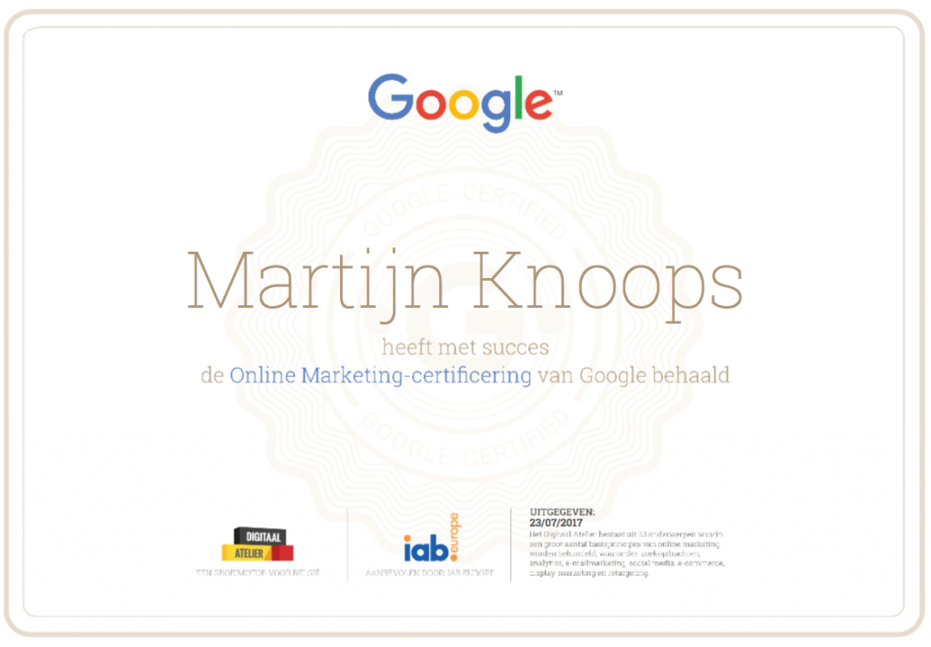 Online Marketing Certificaat