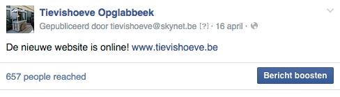 Facebook bericht boosten