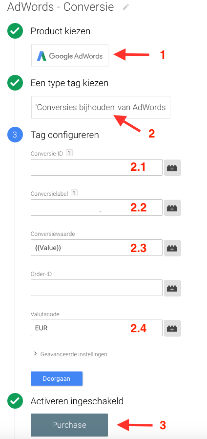 AdWords Conversie Google Tag Manager