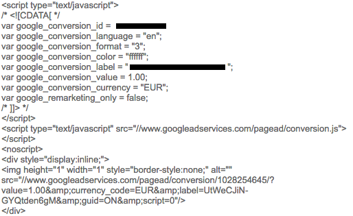 AdWords Conversie Trackingcode