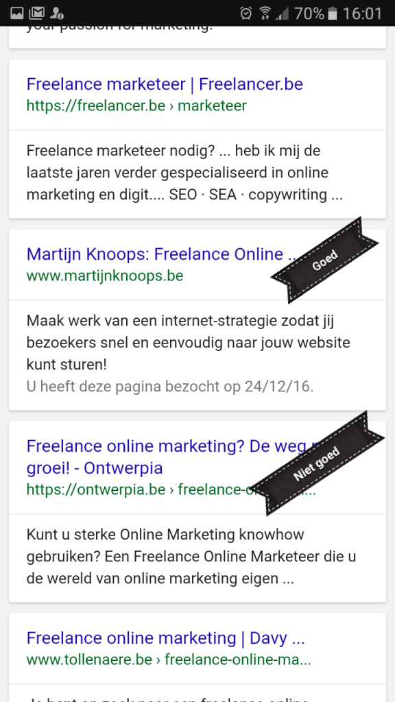 Mobiel Zoekresultaat - Meta Description